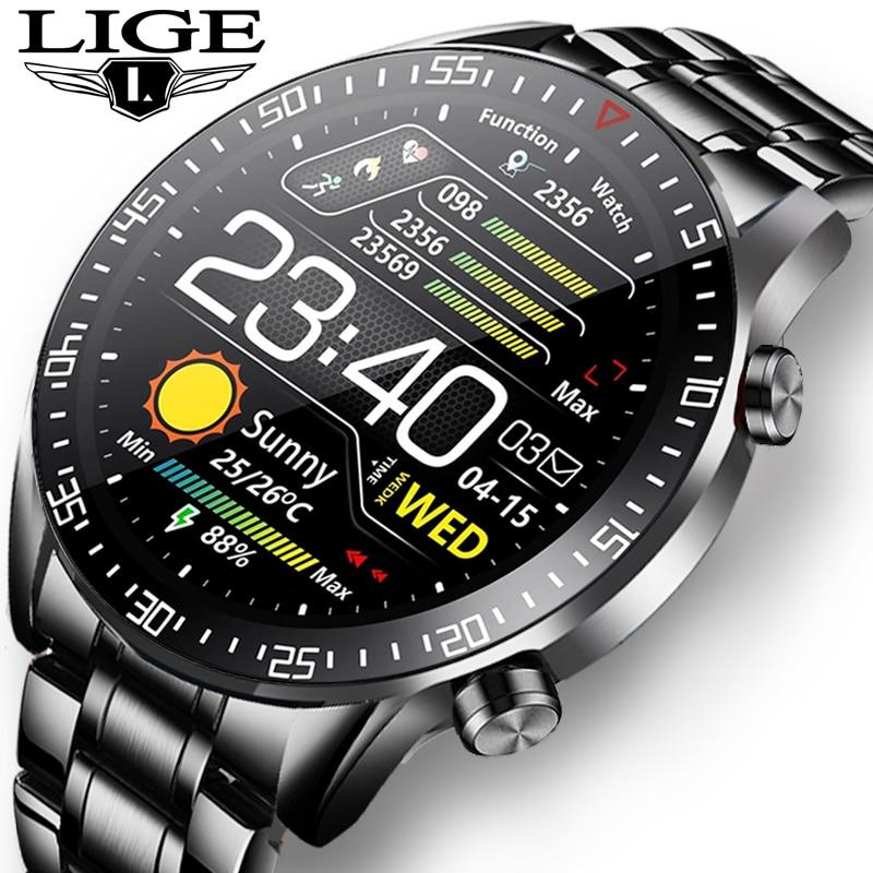Часы наручные LIGE Мужские Цифровые, спортивные электронсветодиодный светодиодные водонепроницаемые с Bluetooth, со стальным ремешком, 2021