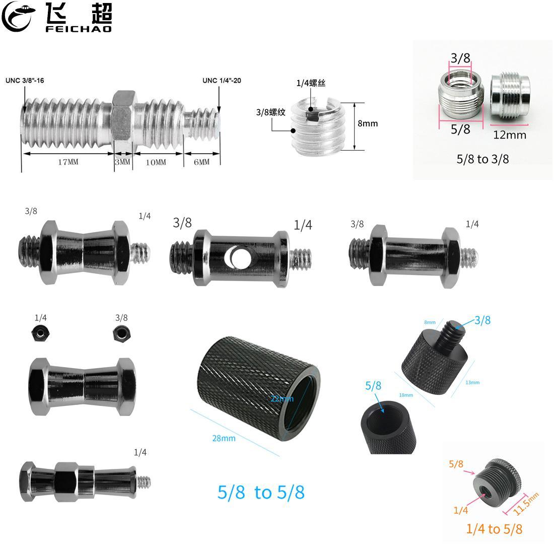 """Металлический 1/4 """"3/8"""" 5/8 """"резьбовые винтовые крепления адаптера штатива для вспышки света конвертер для микрофона с зеркальными камерами Кам..."""