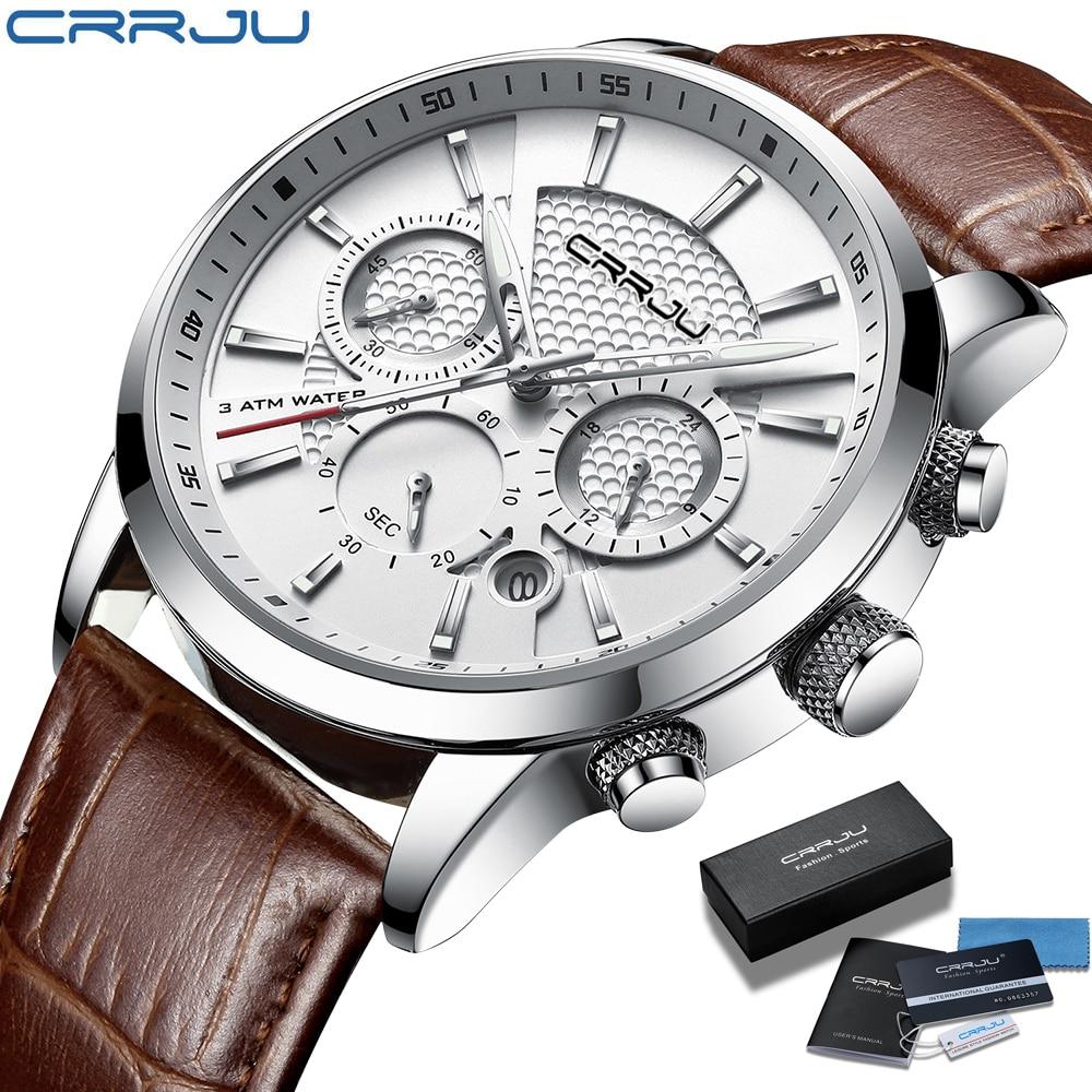 Мужские часы 2021 CRRJU повседневные кожаные кварцевые мужские часы Топ бренд Роскошные бизнес часы мужские спортивные водонепроницаемые Дата ...