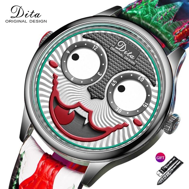 Новые часы Для мужчин Креативный дизайн большой циферблат в стиле «Джокер» кварцевые наручные часы с кожаным ремешком, Водонепроницаемый С...