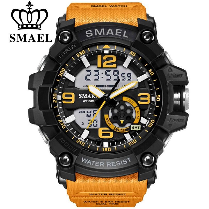 SMAEL мужские военные часы 50 м водонепроницаемые наручные часы светодиодный кварцевые часы мужские relogios masculino 1617 цифровые спортивные часы муж...