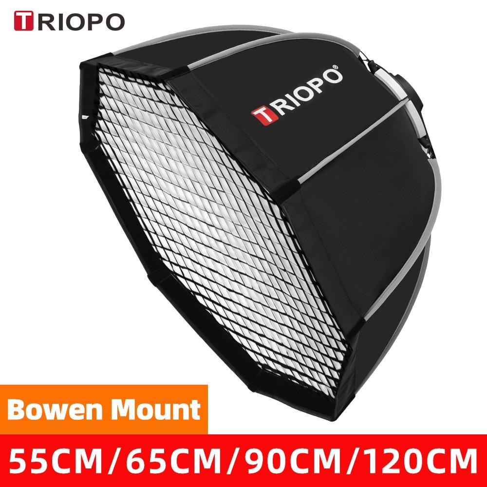 Восьмиугольный Зонт Triopo 55 см, 65 см, 90 см, 120 см с креплением Bowens, уличный софтбокс + сумка для переноски для фотостудии, софтбокс для вспышки