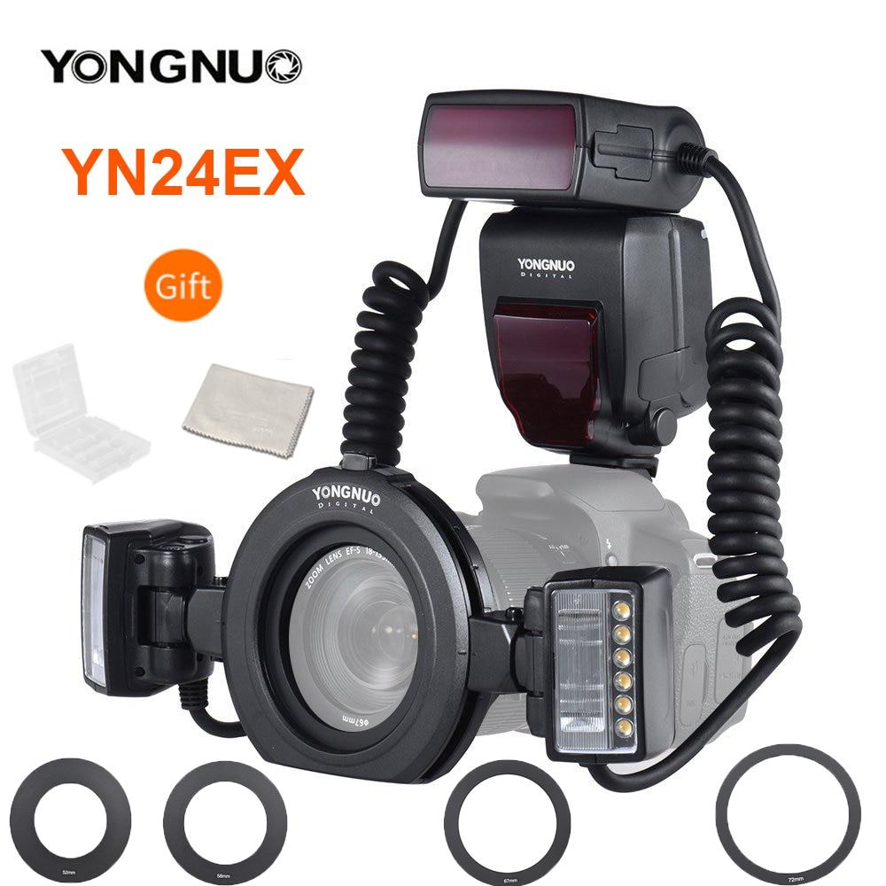YONGNUO YN24EX YN24 EX макро кольцо вспышка фотовспышка Speedlite с 2 шт. головки вспышки 4 шт. кольца адаптера для камер Canon EOS 5D3