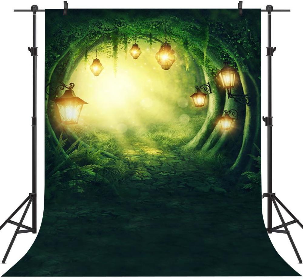 Зеленый лес Фон фотографии блеск светильник Фэнтези Сказочный фон для фото студия детский день рождения портрет Фотокабины